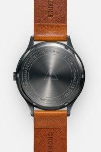 CRONOMETRICS Architect L16 gunmetal / chrome watch (back view)
