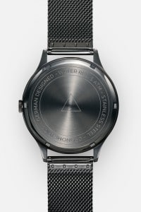 CRONOMETRICS Architect S16 gunmetal / chrome watch (back view)