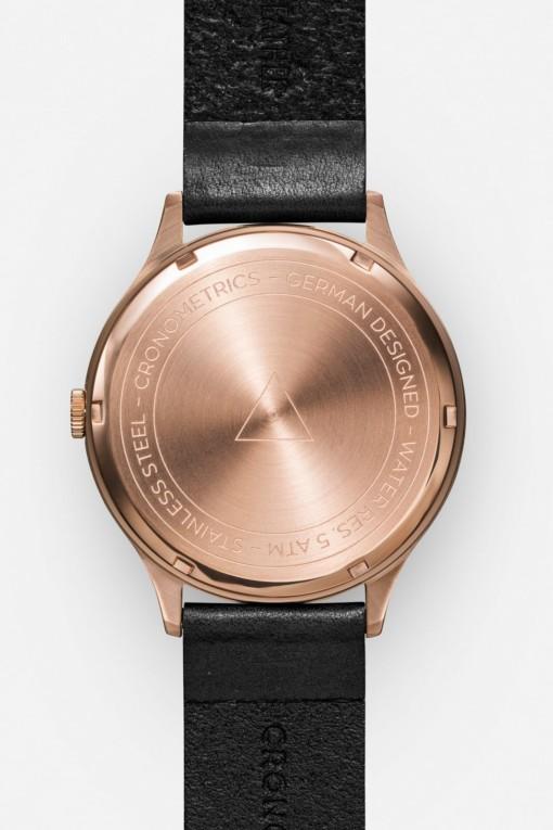 CRONOMETRICS Architect L10 rose gold / gunmetal watch (back view)