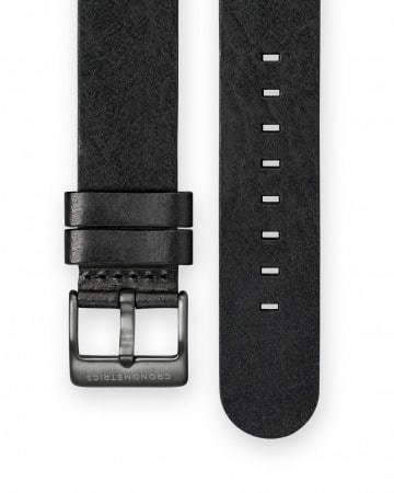The CRONOMETRICS black genuine Italian leather strap