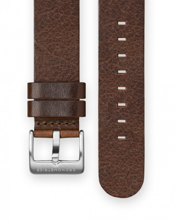 The CRONOMETRICS dark brown genuine Italian leather strap