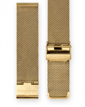 The CRONOMETRICS stainless steel Milanese strap in gold
