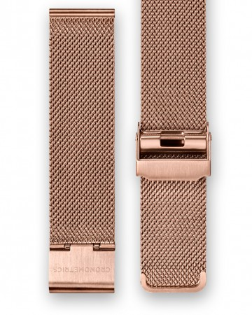 The CRONOMETRICS stainless steel Milanese strap in rose gold