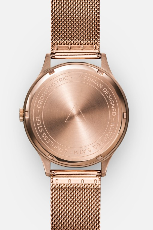 CRONOMETRICS Architect rose gold watch (back view)