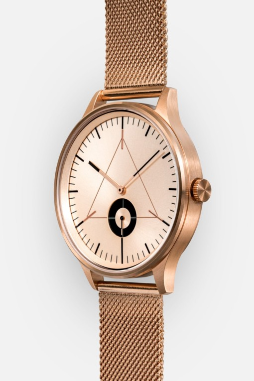 CRONOMETRICS Architect rose gold watch (diagonal view)