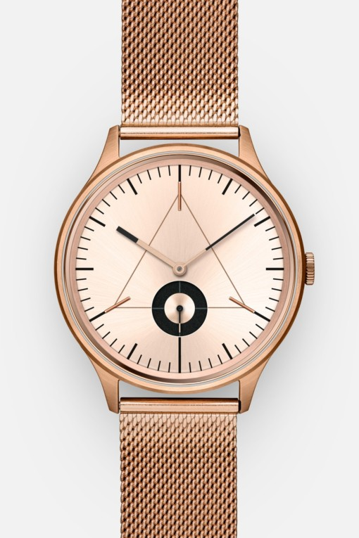 CRONOMETRICS Architect rose gold watch (front view)