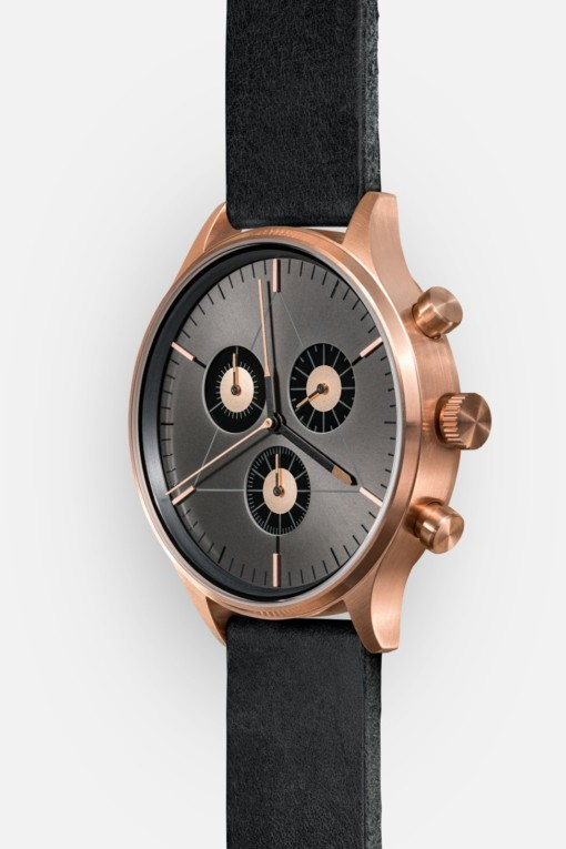CRONOMETRICS Engineer L6 rose gold / gunmetal watch (side view)