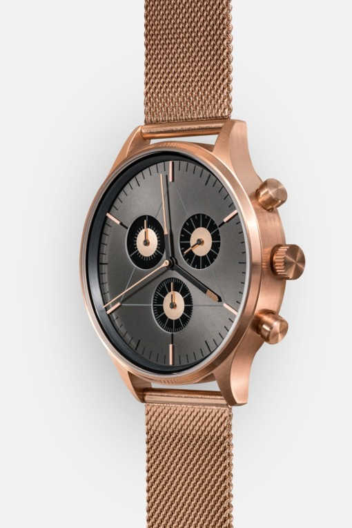 CRONOMETRICS Engineer S6 rose gold / gunmetal watch (diagonal view)