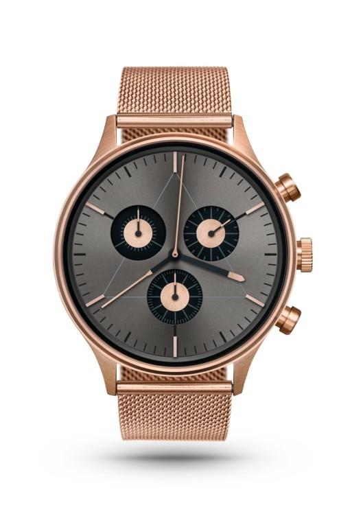 CRONOMETRICS Engineer S6 rose gold / gunmetal watch (front view)