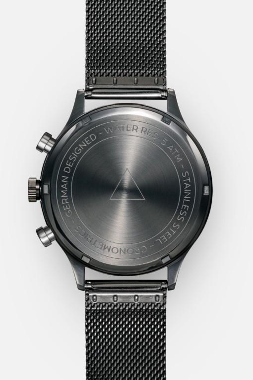 CRONOMETRICS Architect S16 gunmetal / chrome watch (back view)
