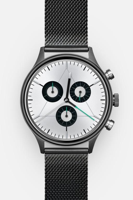 CRONOMETRICS Engineer S8 gunmetal / chrome watch (front view)